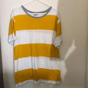 Yellow & white stripe shirt with a grey collar
